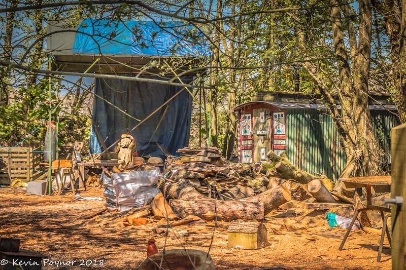 Wood Carver's yard.