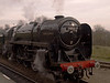"""BR Britannia Class 7P No. 70013 """"Oliver Cromwell"""" running round at Leicester North."""