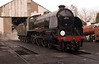 """Having failed in service Southern Railway N15 class No. 30777 """"Sir Lamiel"""" sits outside Loughborough Shed."""