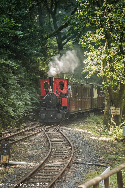 No.6 Douglas approaches Abergynolwyn station from Tywyn Wharf.
