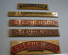"Name plate collection from locomotives called ""Stephenson"""
