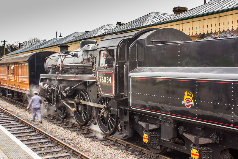 British Railways Standard 4 76084 masquarading as 76034 at Sheringham station.