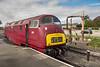 """British Railways Diesel Hydraulic Class 42 No. D821 """"Greyhound"""" at Kidderminster."""