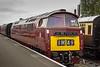 """British Railways Class 52 Diesel Hydraulic  No. D1062 """"Western Courier"""" at Kidderminster Station."""