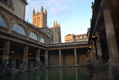 The Great Bath - centrepiece of the Roman bath complex of Aquea Sulis.  Bath, England.