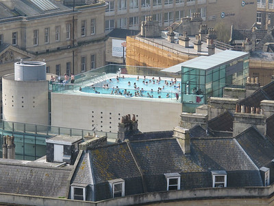 Rooftop pool at Bath Thermae Spa, from the Abbey Tower.  Bath, England