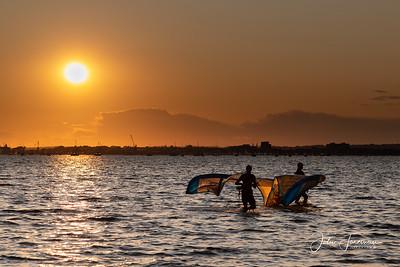 Kite surfers, Poole