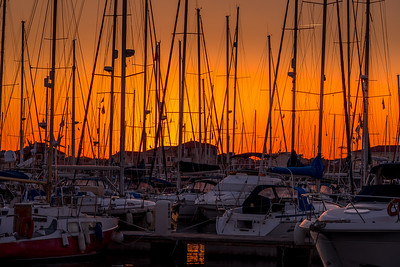 Evening sky through the masts at Lefkas Marina