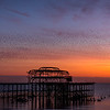 An evening murmuration over West Pier, Brighton