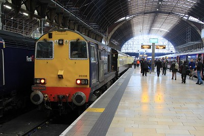 "20 308 after arrival at Paddington on 1Z20, 04.25 Crewe - Paddington ""Buffer Puffer 12.0"" railtour (07.02.2015)"