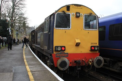 "20 308 after arrival at Windsor & Eton Riverside on 1Z21, 09.03 Paddington - Windsor & Eton Riverside ""Buffer Puffer 12.0"" railtour (07.02.2015)"