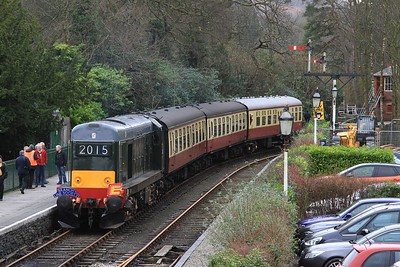 20 214 after arrival at Lakeside with 11.50 BLS charter from Haverthwaite to Lakeside (06.03.2015).