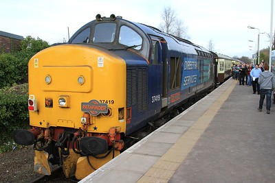 "37 419 after arrival at Ormskirk with the Preston - Ormskirk leg of ""The Lancs Links"", 1Z77, 10.01 Crewe - Crewe (via various NW destinations) (07.03.2015)."