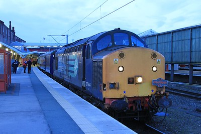 "37 604 at Crewe prior to working ""Sabrina's Tea Train"", 1Z76, 18.35 Crewe to Ironbridge PS and return (06.03.2015)."