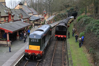 20 214 running back to Haverthwaite shed while AD601 prepares to work the next BLS charter (06.03.2015).