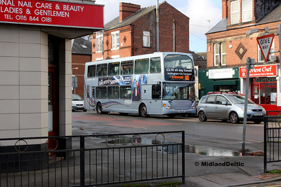 903-2018_01060003  NCT must have been short of Pathfinder branded buses on this day!  903 heads out with a 100 to Southwell, carrying silver spare livery.  Hidden the other side of the bus is the transport boolshopBook Law, which I always make an effort to visit when returning to see my family, who live 10 minute swalk away.  Such a hardship! :)
