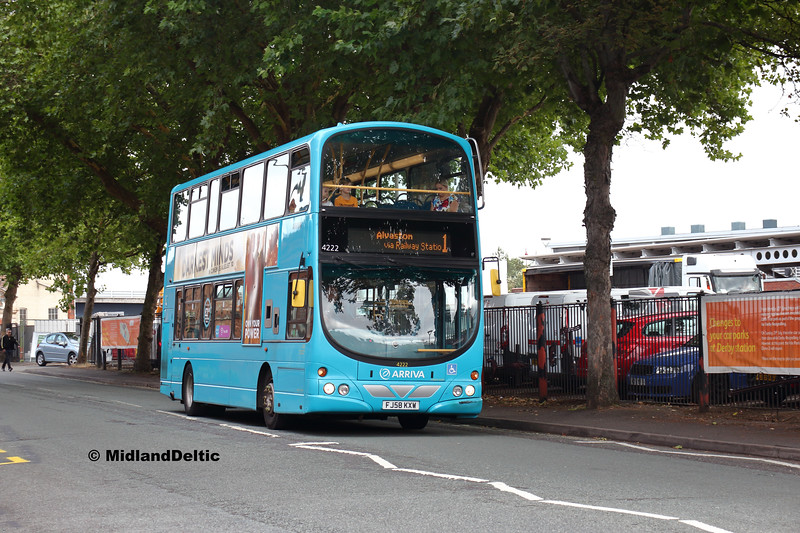Arriva Midlands 4222, Railway Terrace Derby, 18-08-2018