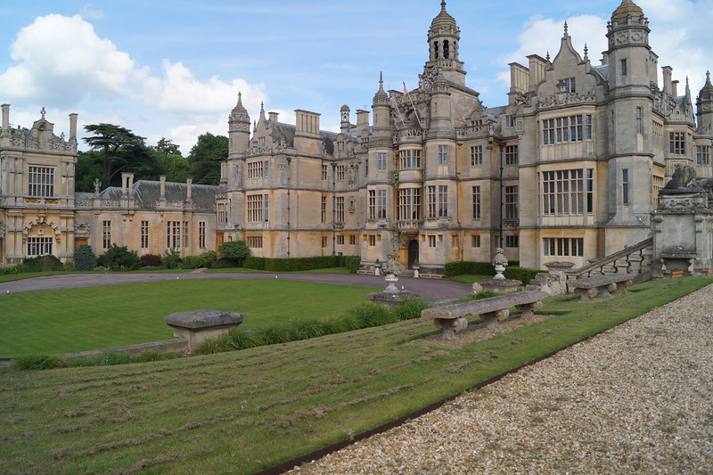 The front facade of Harlaxton Manor.