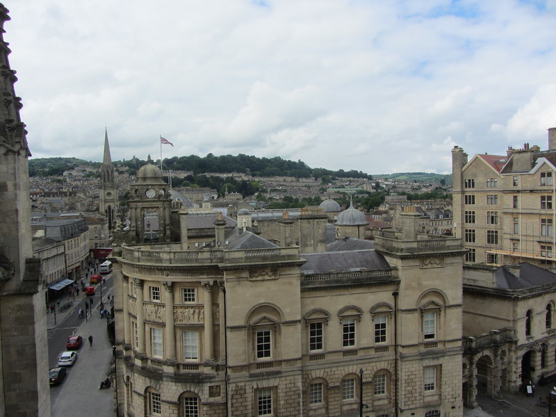 View from our first roof stop on the tower tour at Bath Abbey.  Lars had a proper freak out about the narrow winding spiral staircase.