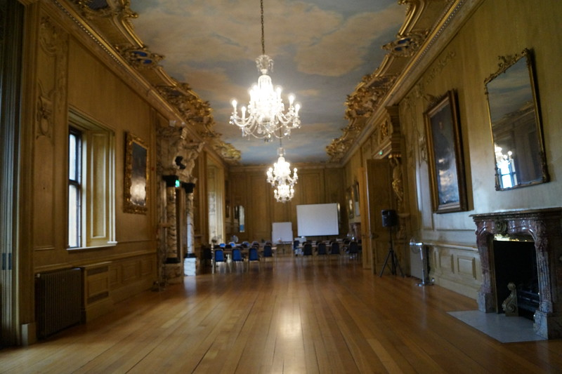 Long view of the Long Gallery. In Gregory Gregory's time, this room was used for indoor walking during inclement weather. The Jesuits used it to train priests in oration. Today it is where Harlaxton students gather every Monday and Wednesday morning for British studies lectures.  The next few photos are different views of this room.