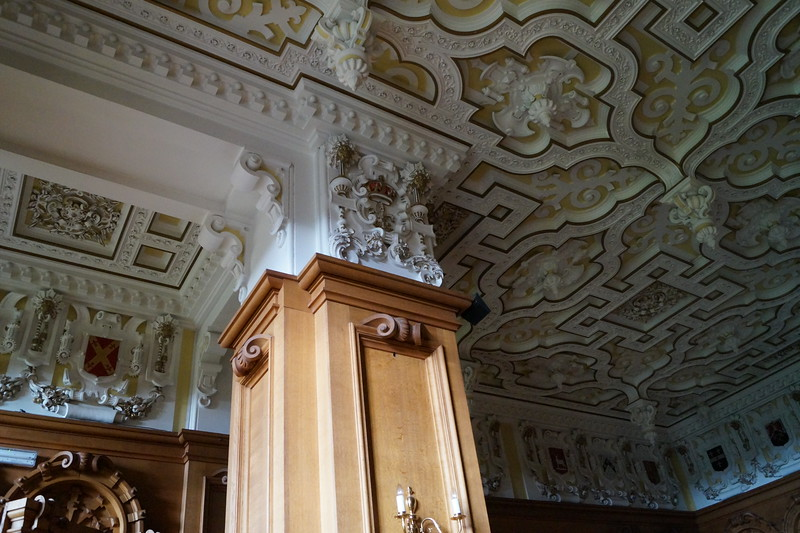 The Jacobean ceiling of the state dining room.