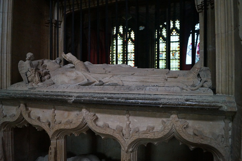 """This is a """"corpse tomb"""" at Lincoln Cathedral.  We see the Bishop in all his earthly finery and below as a mere body soon to be ravaged by the decay of death."""