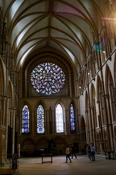 One of the rose windows at Lincoln Cathedral.