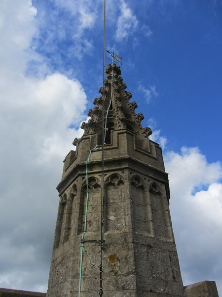 One of the decorative spires on the roof of Bath Abbey. Notice the lightning rods.