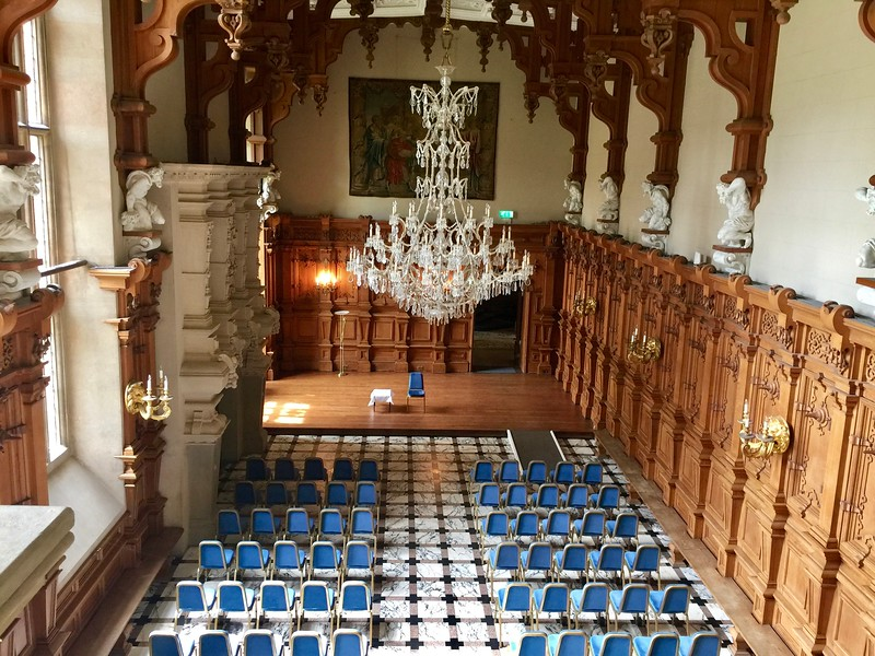"""A view of the great hall at Harlaxton, taken from the minstrel's gallery.  To see more about the hidden places at Harlaxton, watch George's videos. <a href=""""https://www.youtube.com/playlist?list=PLixAGT_2Yf5L1jj1ktP9YoWmF0NJmAxgC"""">https://www.youtube.com/playlist?list=PLixAGT_2Yf5L1jj1ktP9YoWmF0NJmAxgC</a>"""
