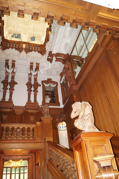 In my era, the Atlas at the foot of the cedar staircase. You get some idea of the height and feeling of the cedar staircase.  Though the height is partially an illusion as the clerestory tapers giving the impression of greater height than reality.