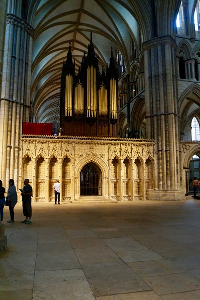 The organ screen at Lincoln Cathedral.