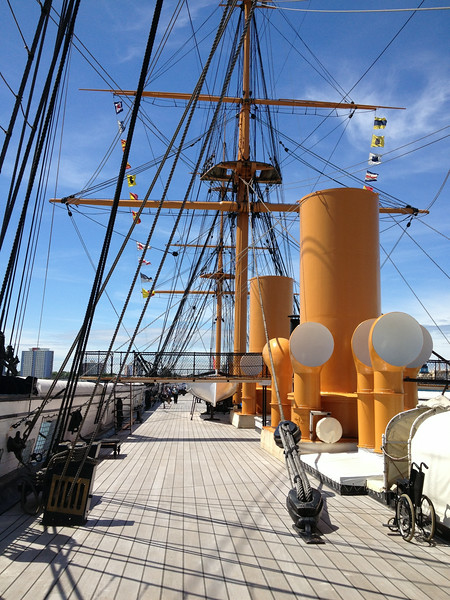 The  deck of the HMS Warrior - 1860s ironclad battleship with both steam and sail - in Portsmouth
