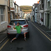 Cam getting goofy on arrival in Aberystwyth, central Wales and on the seaside