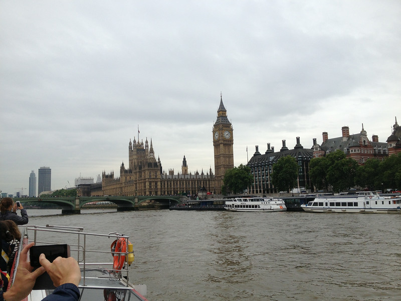 The view from the Thames river cruise on day 3 - House of Parliament and Big Ben
