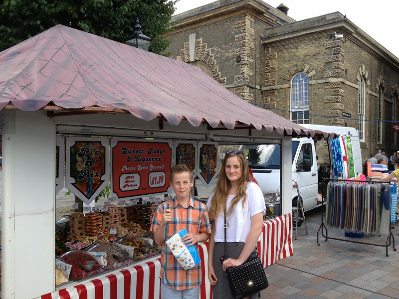 Candy blitz...in the street market of Salisbury