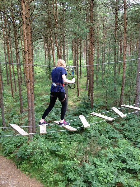 Claire on one of the many challenging facilities at Go Ape Treetop adventures near Ringwood