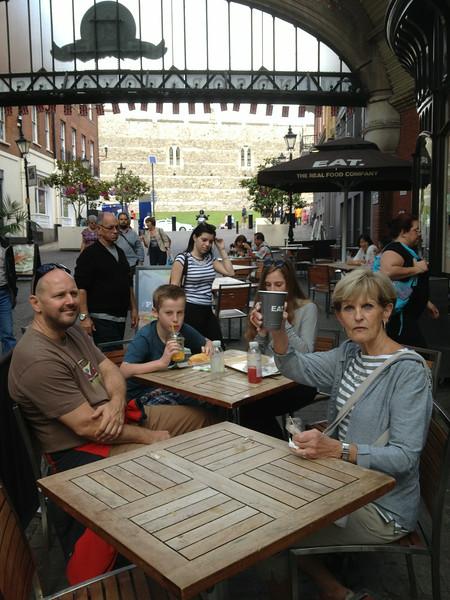 Relaxing outside Windsor Castle - James Barrs on left