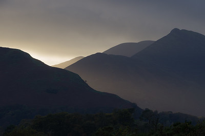 Late day light on a stormy day looking at the mountains west of  Derwent Water