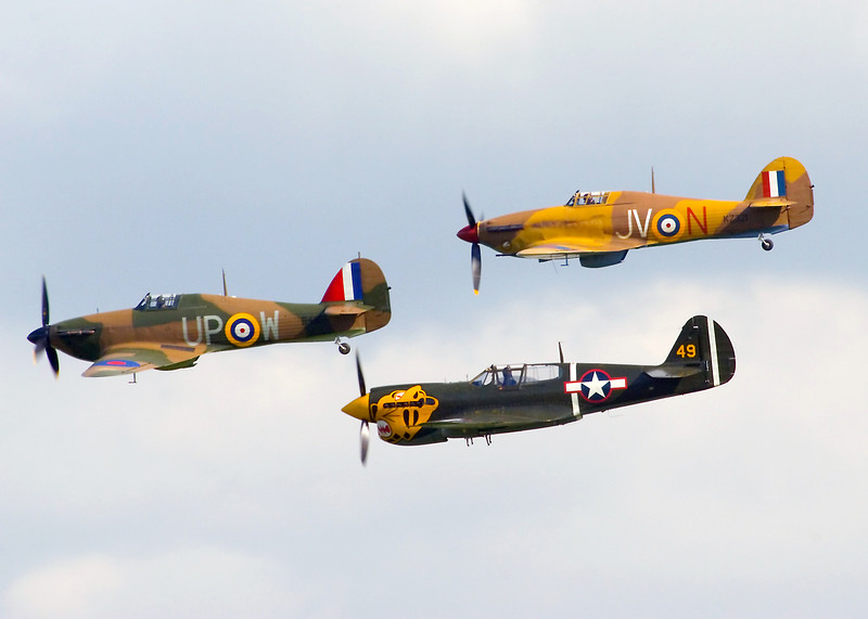Hurricanes and Curtiss P-40 fighters