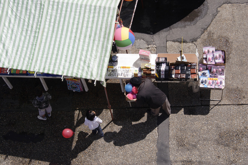 Aerial view of street market stall Hosier street Reading Berkshire