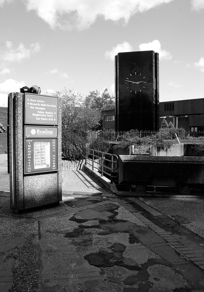 Public square with clock near the Hexagon Theatre Reading Berkshire