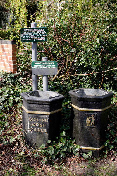 Waste bins at Sonning village Berkshire