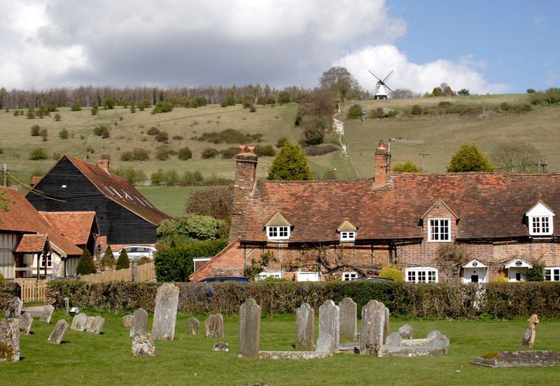 Terraced cottages at Turville village Buckinghamshire