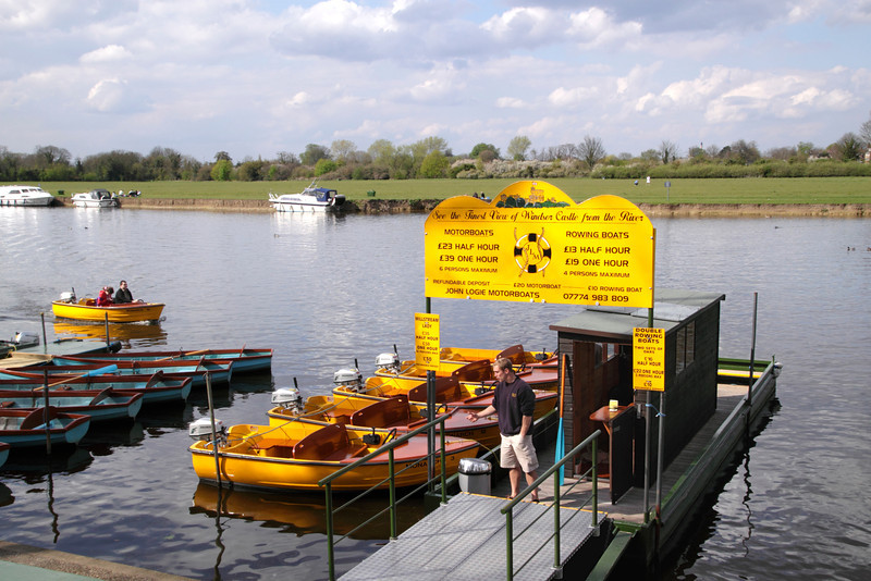 Boats for hire on River Thames Windsor spring 2012