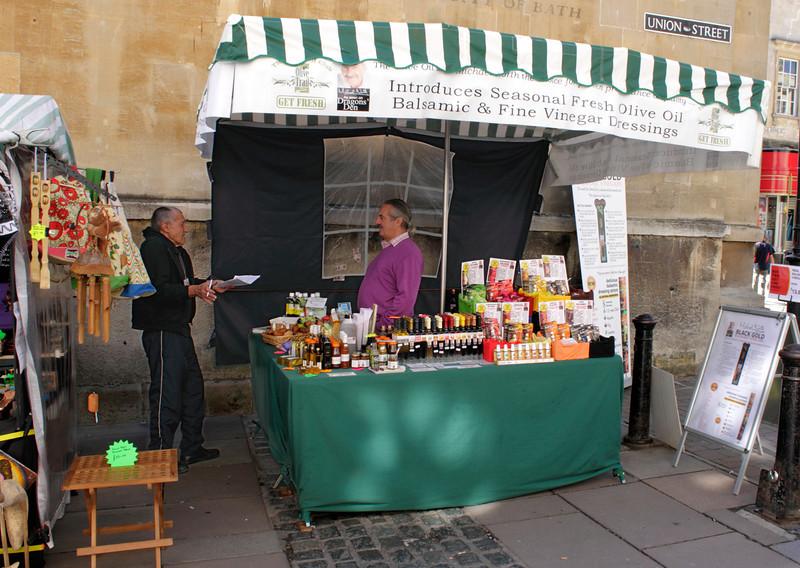Olive Oil and Vinegar stall Union Street Bath Somerset