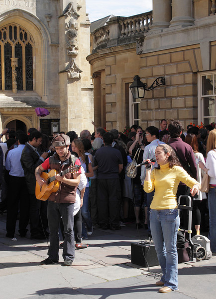 Buskers outside Bath Abbey Somerset summer 2011