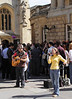 Buskers outside Bath Abbey Somerset summer 2011