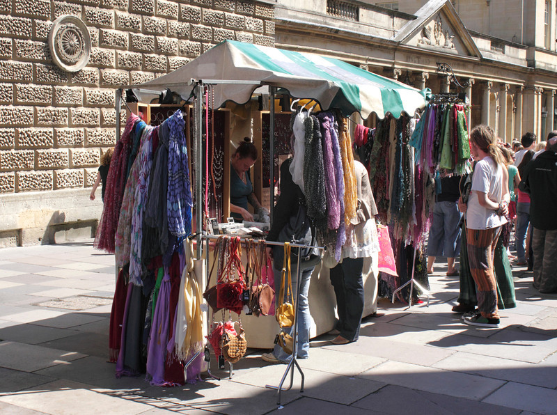 Clothes stall Stall Street Bath Somerset August 2011