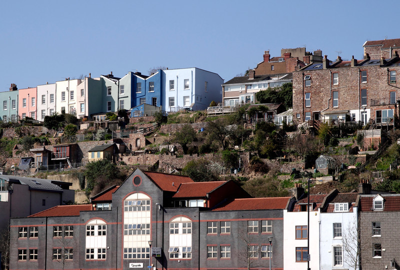 Colourful terraced houses overlooking Bristol Docks