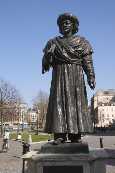 Statue of Rajah Rammohum Roy in grounds of Bristol Cathedral